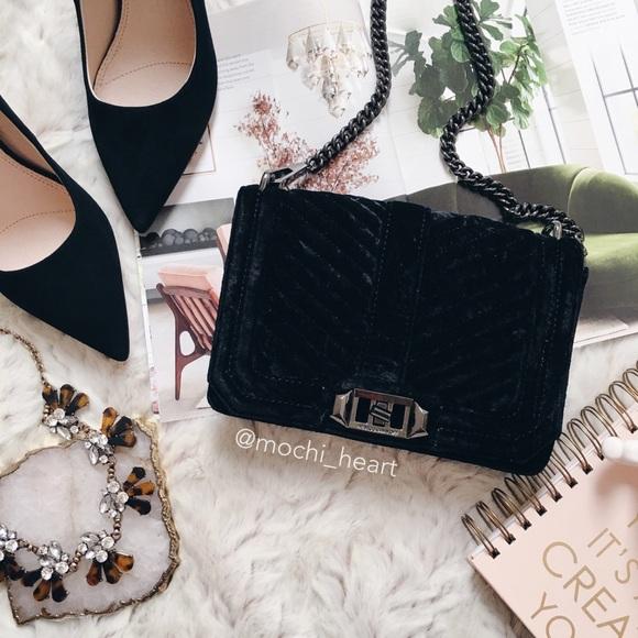 fe7bab3c02ea Rebecca Minkoff Black Velvet Love Crossbody Bag. M 5a80d0096bf5a6559124d987